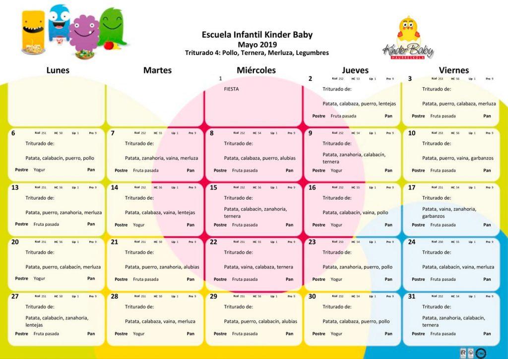 Imagen del menú triturado en mayo de 2019 de Kinder Baby