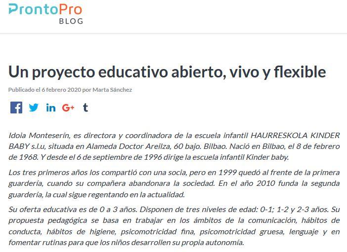 """Artículo """"Un proyecto educativo abierto, vivo y flexible"""" de ProntoPro Blog"""